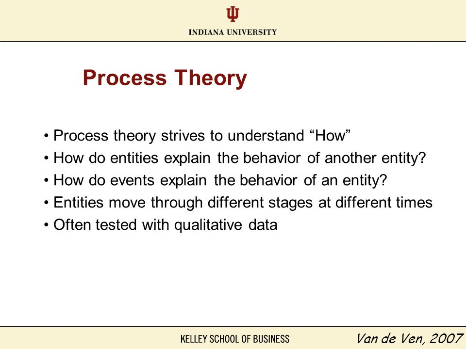 Process Theory Process theory strives to understand How