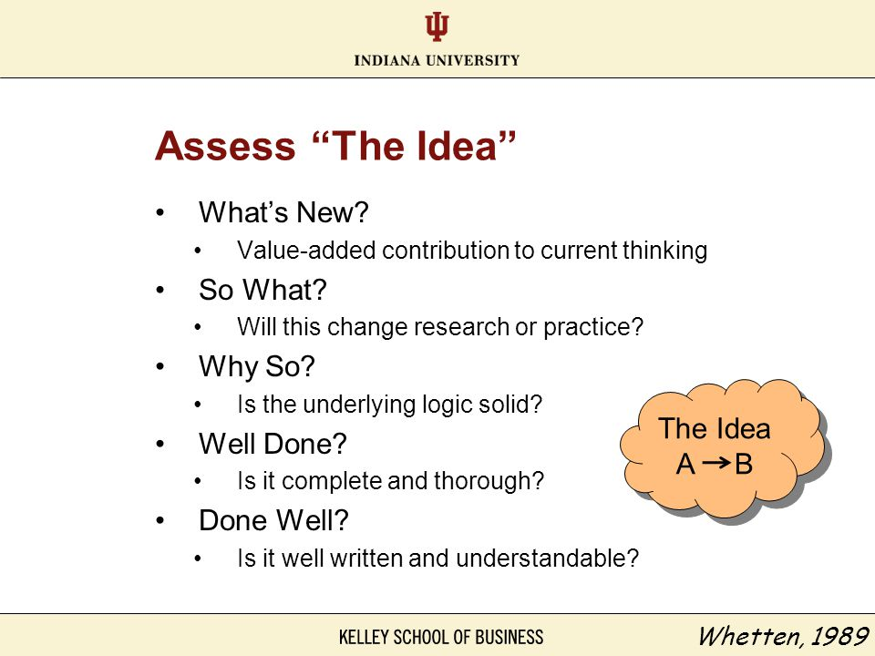 Assess The Idea What's New So What Why So Well Done Done Well