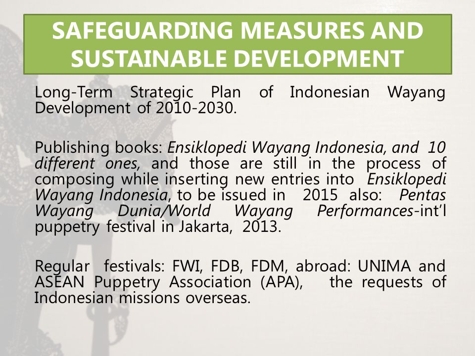 SAFEGUARDING MEASURES AND SUSTAINABLE DEVELOPMENT