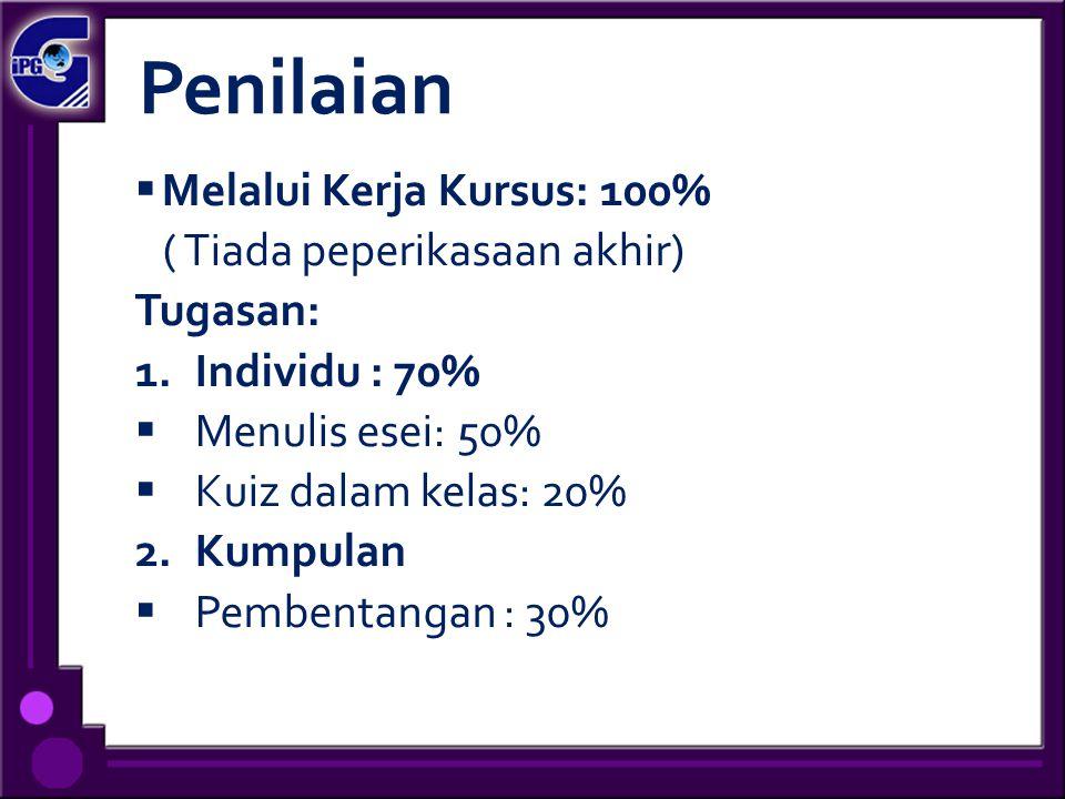 Penilaian Melalui Kerja Kursus: 100% ( Tiada peperikasaan akhir)