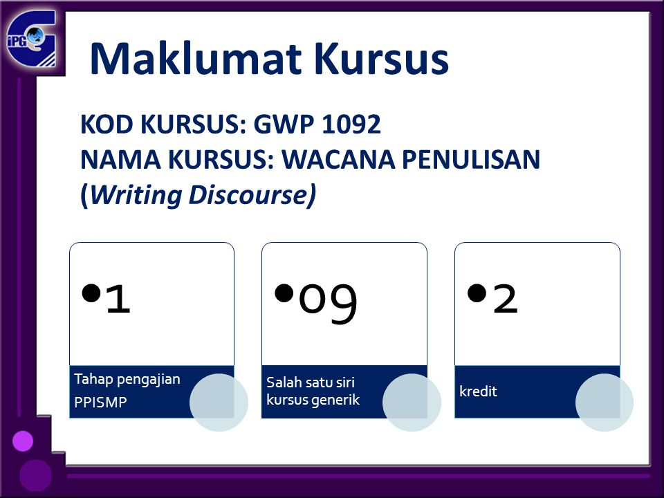 1 09 2 Maklumat Kursus KOD KURSUS: GWP 1092