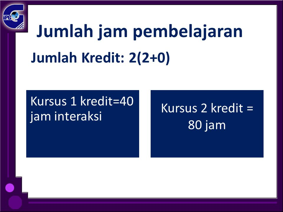 Jumlah jam pembelajaran