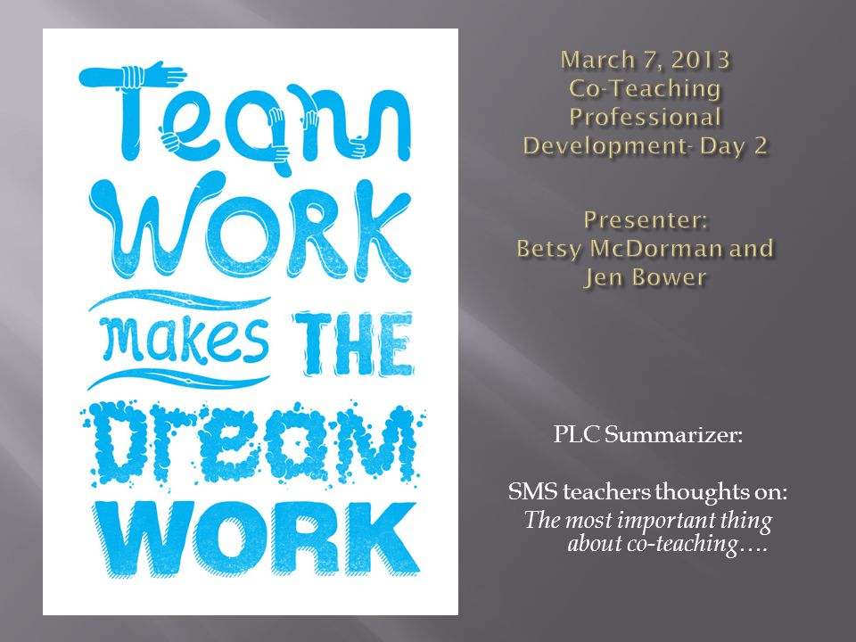 March 7, 2013 Co-Teaching Professional Development- Day 2 Presenter: Betsy McDorman and Jen Bower