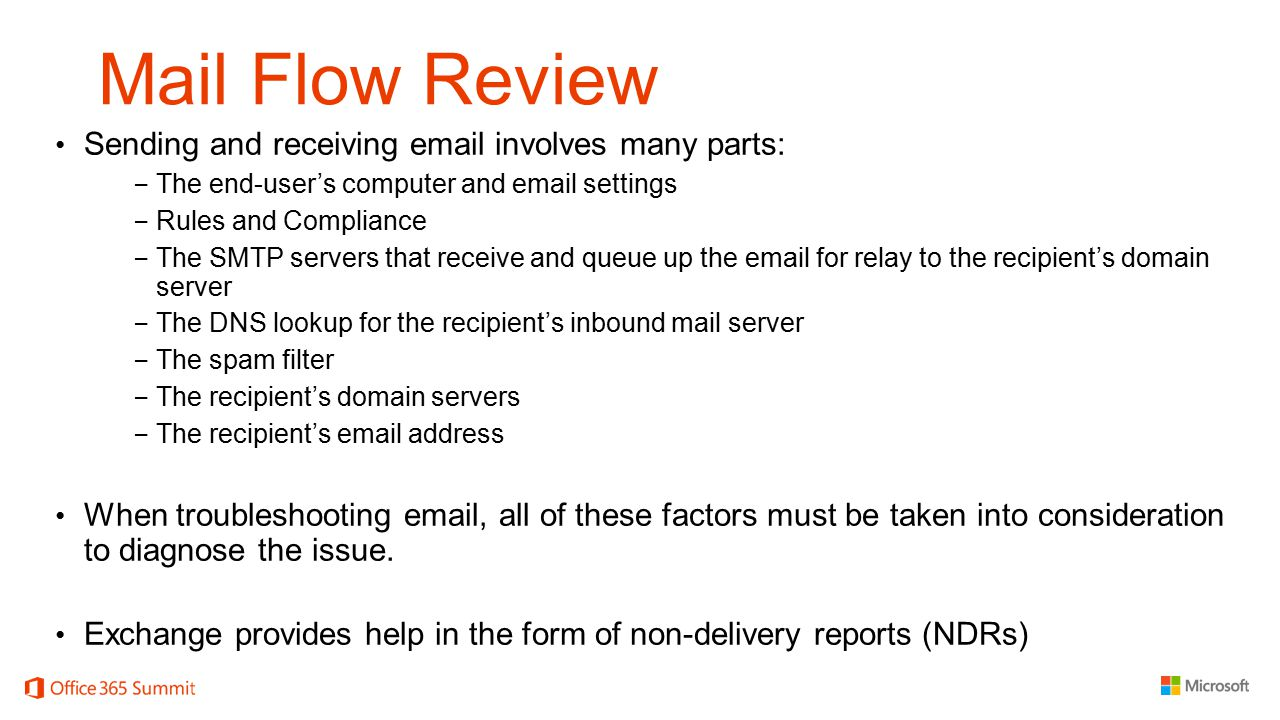 Mail Flow Review Sending and receiving  involves many parts: