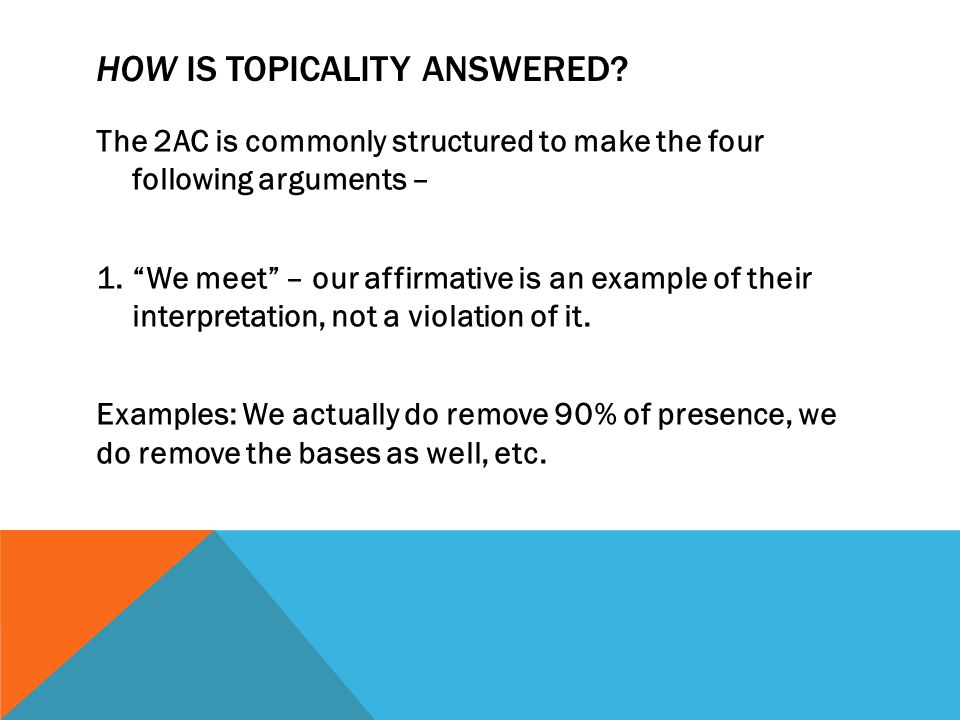 HOW IS TOPICALITY ANSWERED