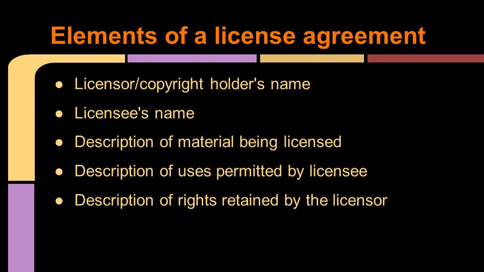 Elements of a license agreement
