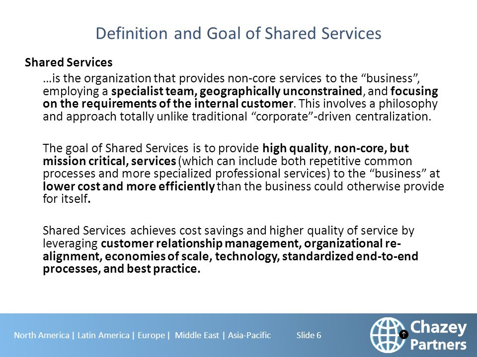 Definition and Goal of Shared Services