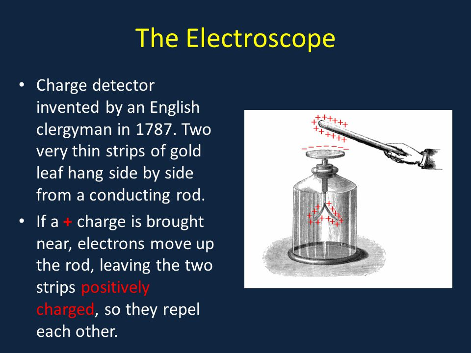 The Electroscope Charge detector invented by an English clergyman in Two very thin strips of gold leaf hang side by side from a conducting rod.