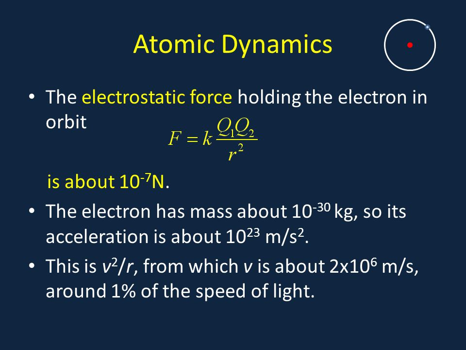 Atomic Dynamics The electrostatic force holding the electron in orbit