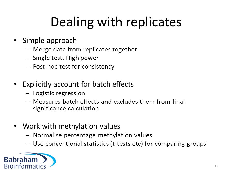 Dealing with replicates