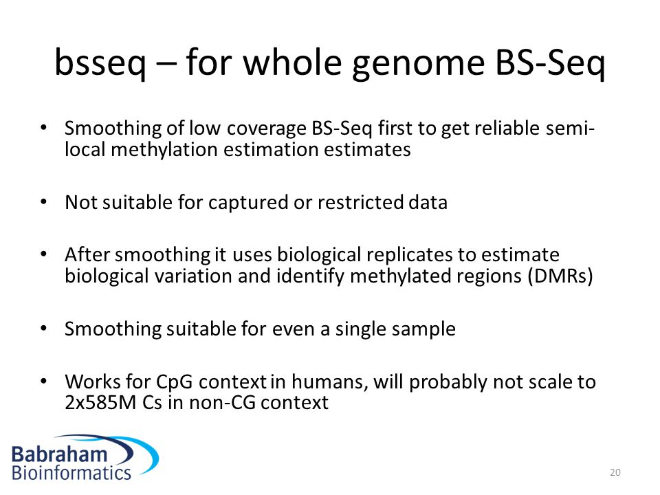 bsseq – for whole genome BS-Seq