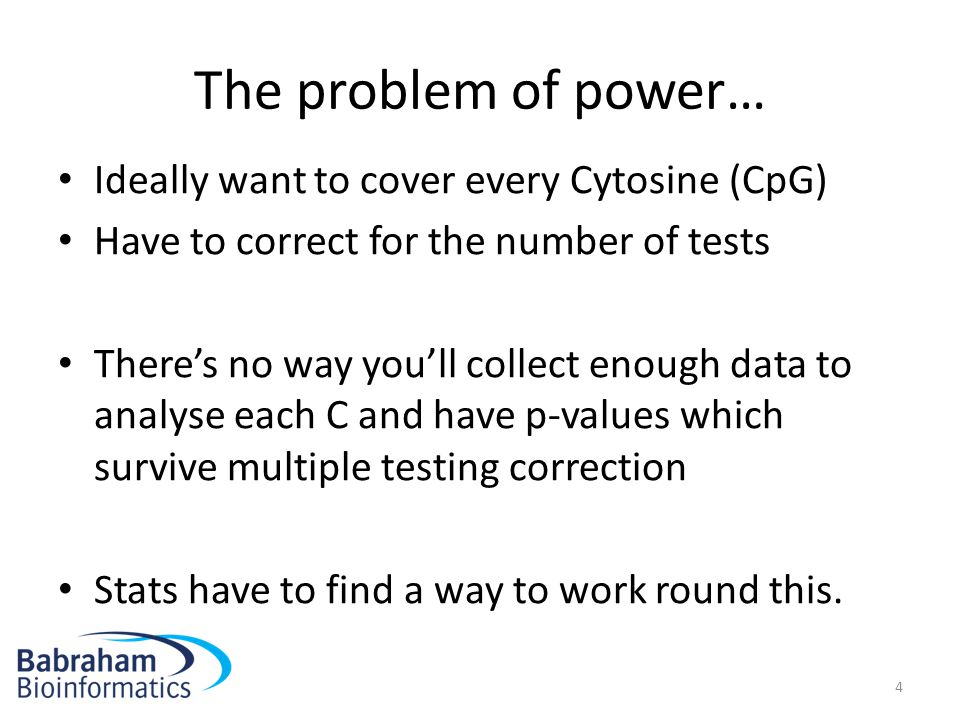 The problem of power… Ideally want to cover every Cytosine (CpG)