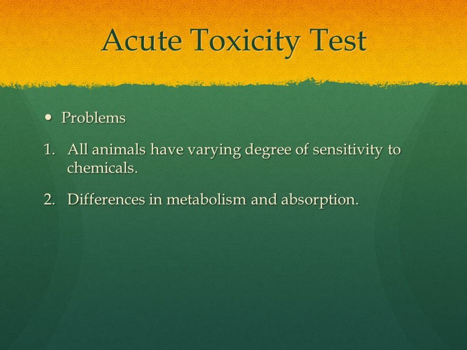 Acute Toxicity Test Problems