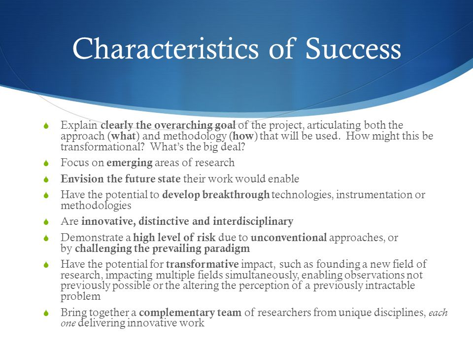 Characteristics of Success