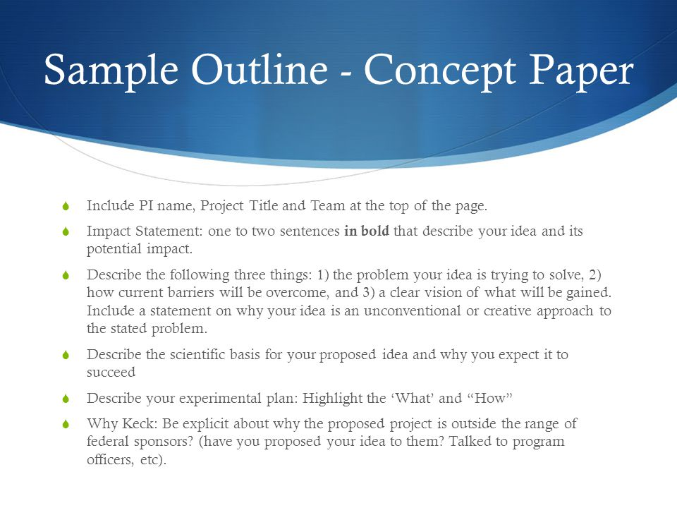 Sample Outline - Concept Paper