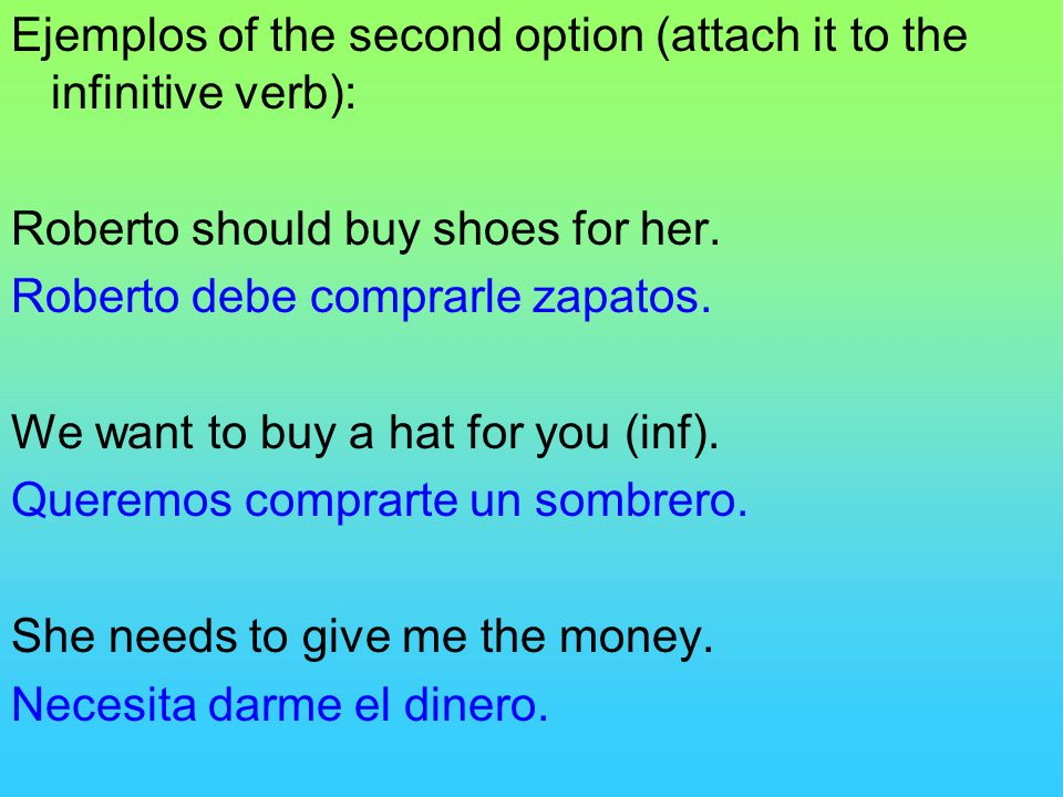 Ejemplos of the second option (attach it to the infinitive verb):