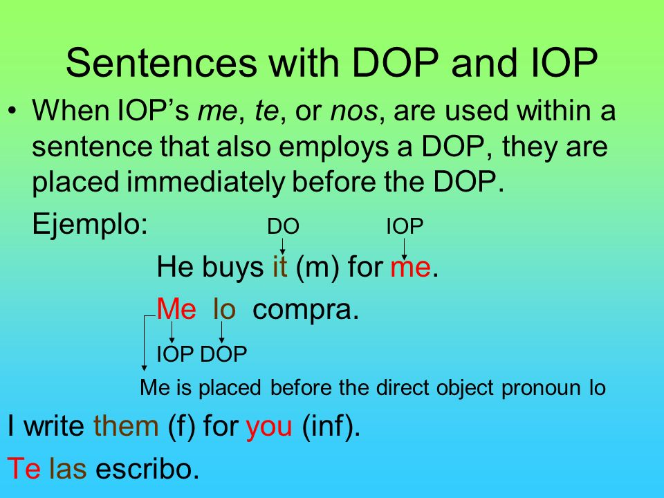 Sentences with DOP and IOP