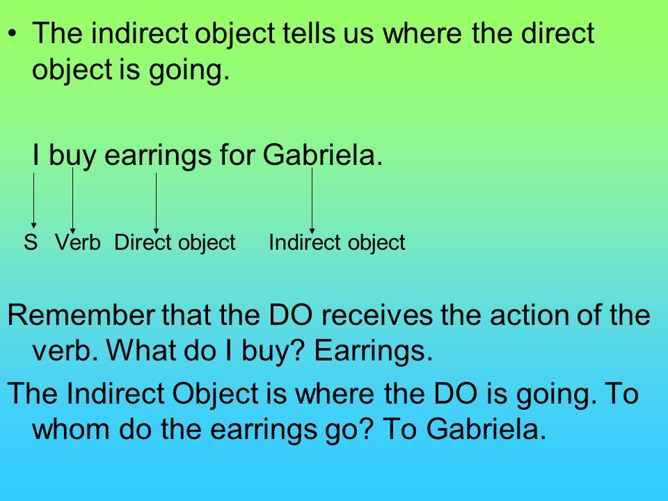 The indirect object tells us where the direct object is going.