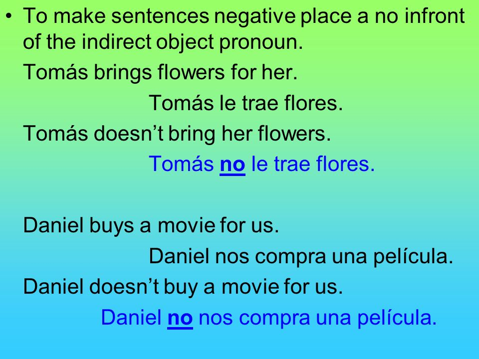 To make sentences negative place a no infront of the indirect object pronoun.