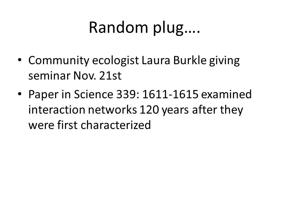 Random plug…. Community ecologist Laura Burkle giving seminar Nov. 21st.