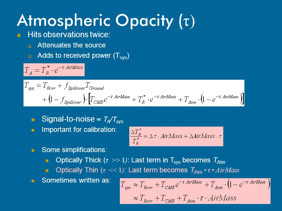Atmospheric Opacity (τ)