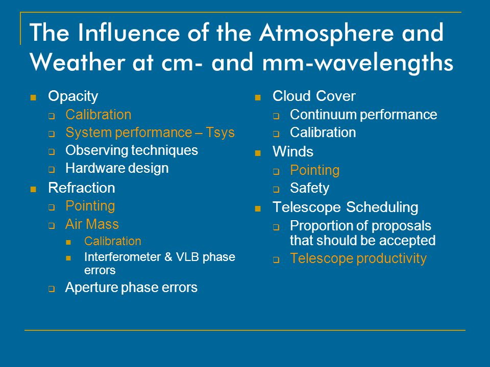 The Influence of the Atmosphere and Weather at cm- and mm-wavelengths