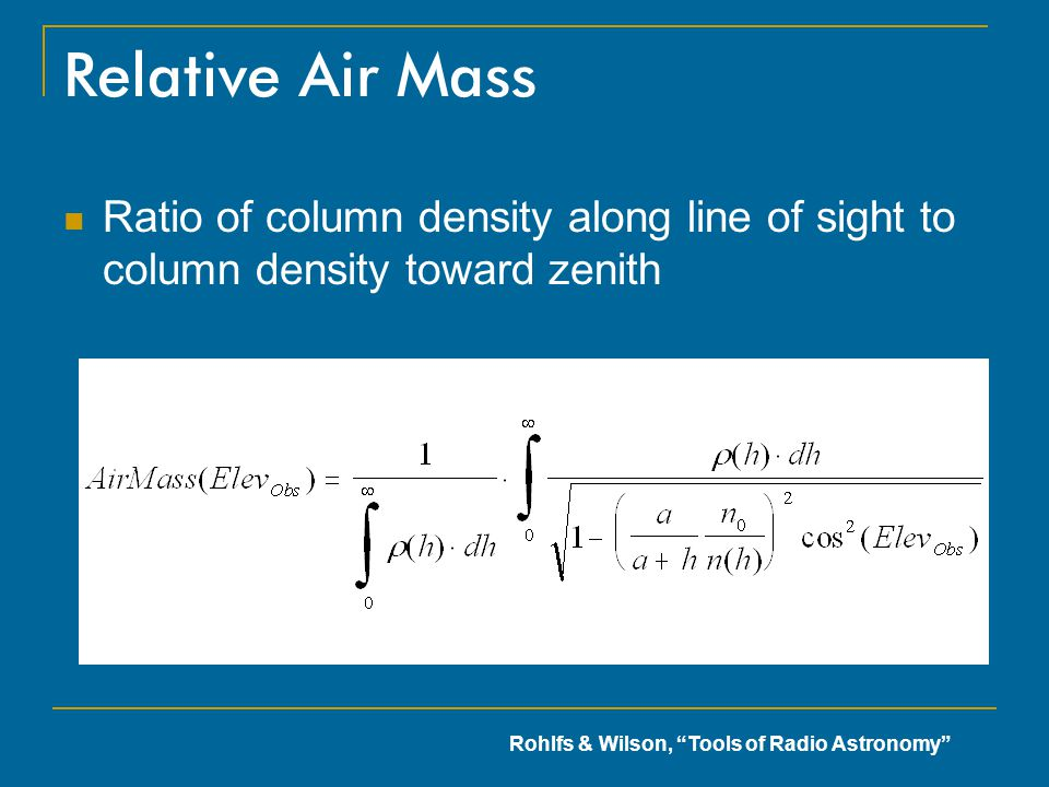Relative Air Mass Ratio of column density along line of sight to column density toward zenith.