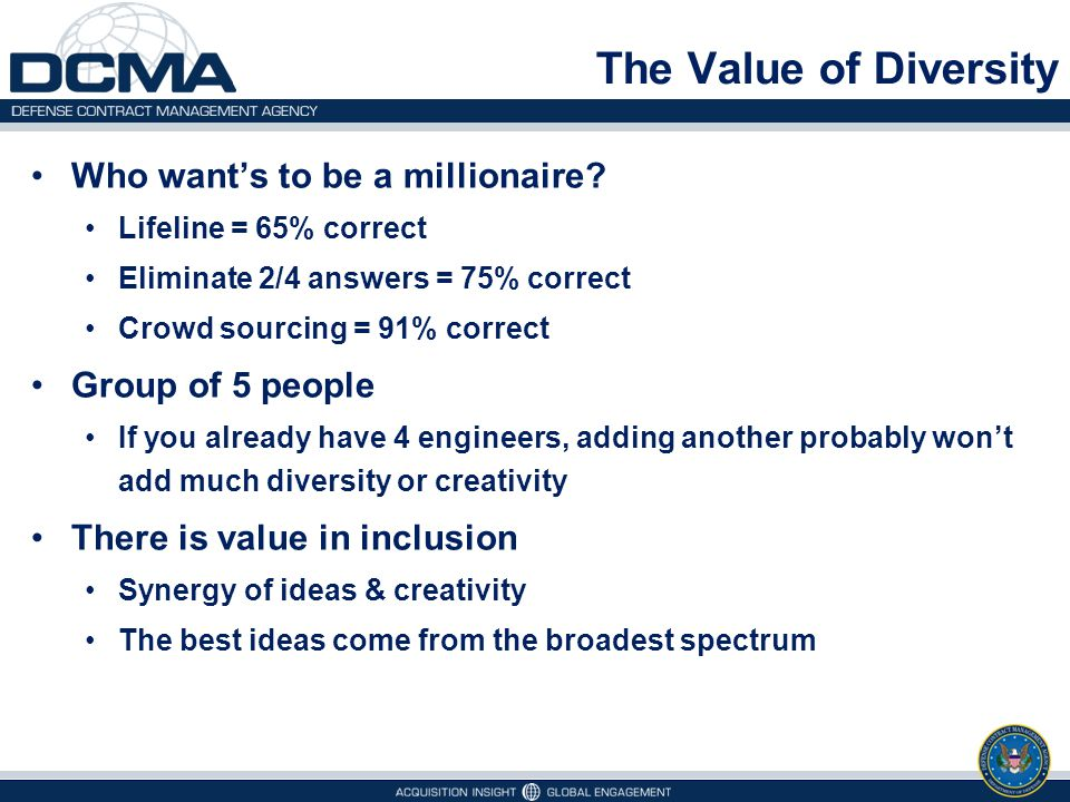 The Value of Diversity Who want's to be a millionaire