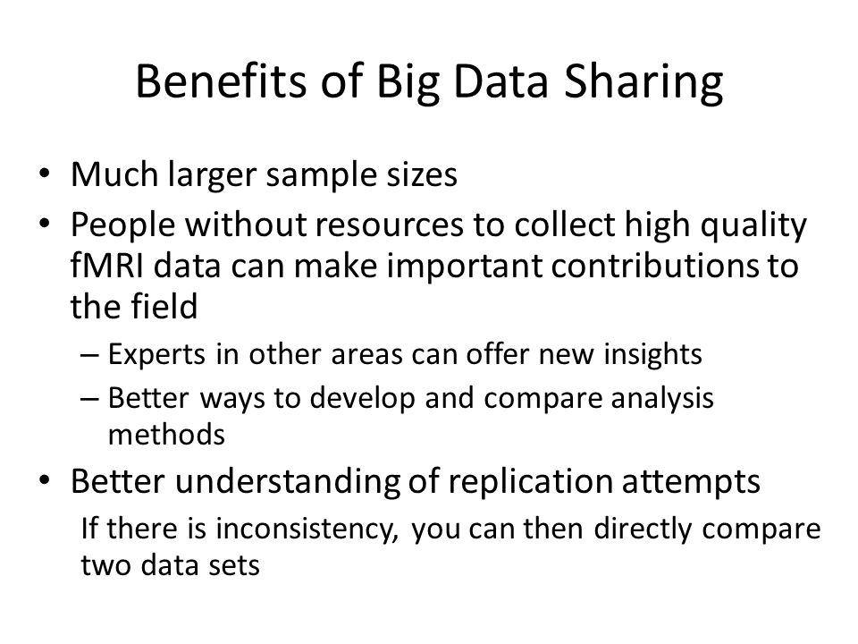 Benefits of Big Data Sharing