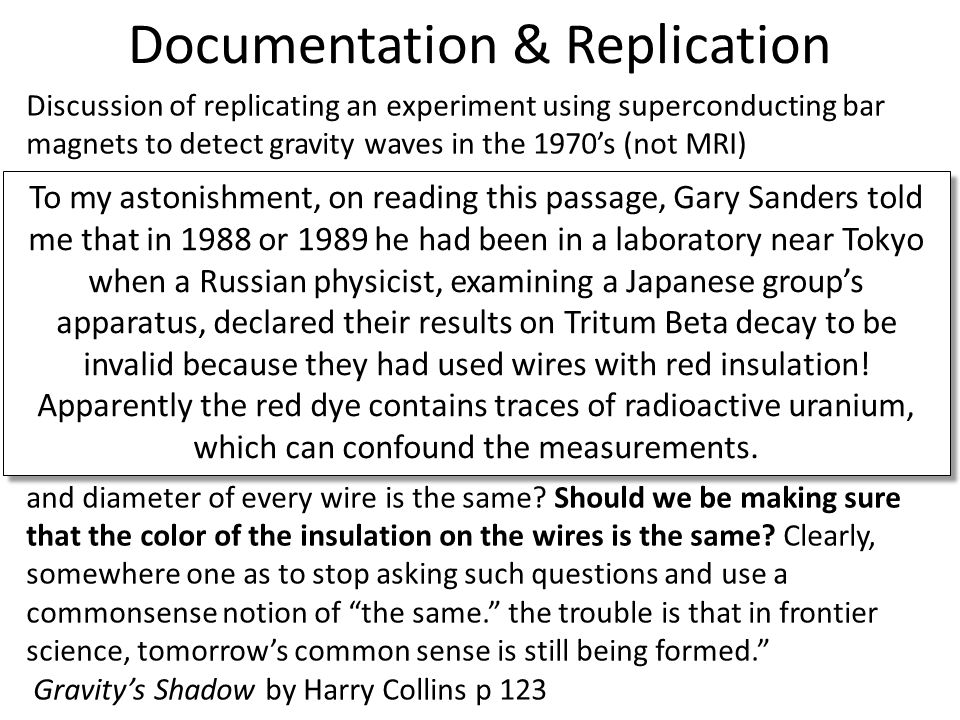 Documentation & Replication