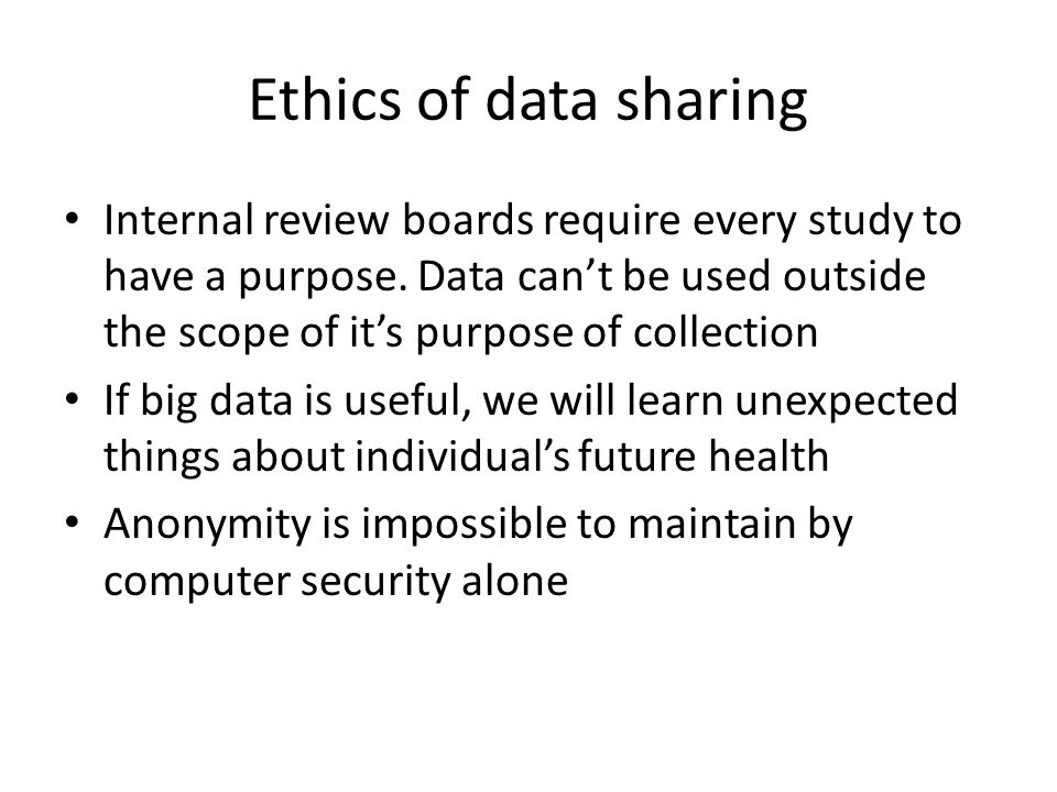 Ethics of data sharing