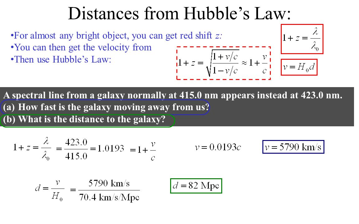 Distances from Hubble's Law: