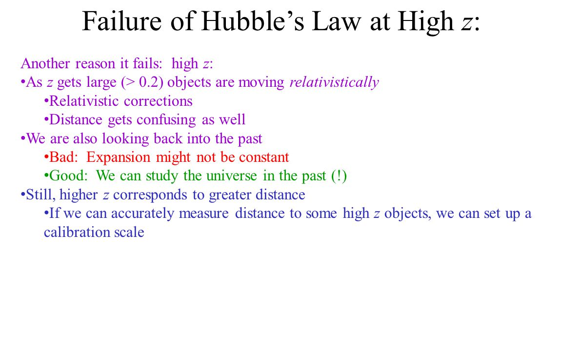 Failure of Hubble's Law at High z: