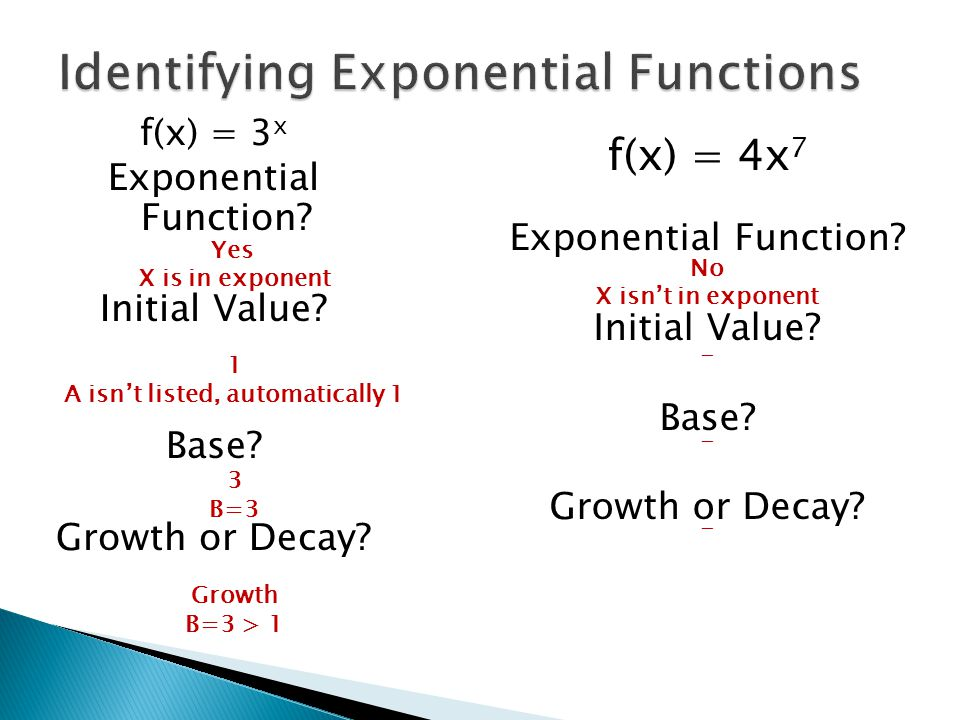 Identifying Exponential Functions