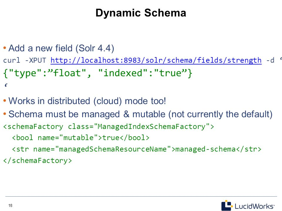 Dynamic Schema { type : float , indexed : true } '
