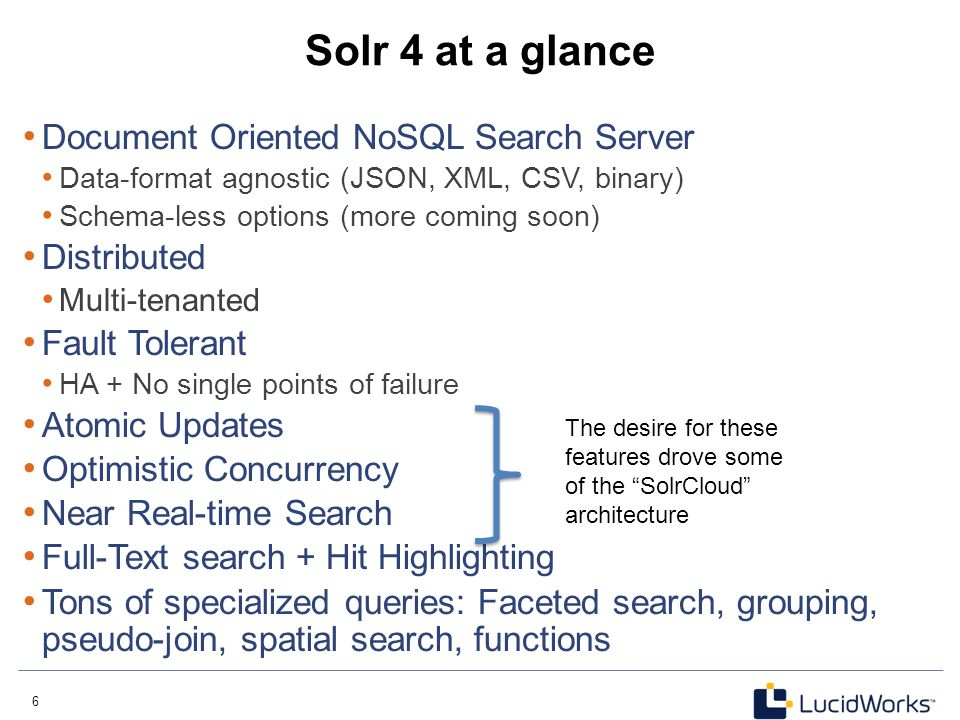 Solr 4 at a glance Document Oriented NoSQL Search Server Distributed