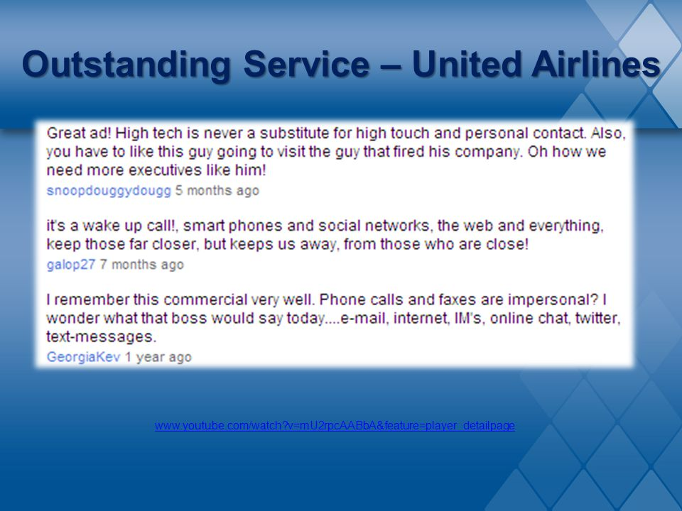 Outstanding Service – United Airlines
