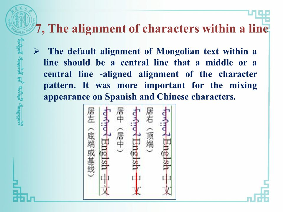 7, The alignment of characters within a line