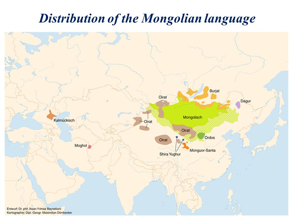Distribution of the Mongolian language