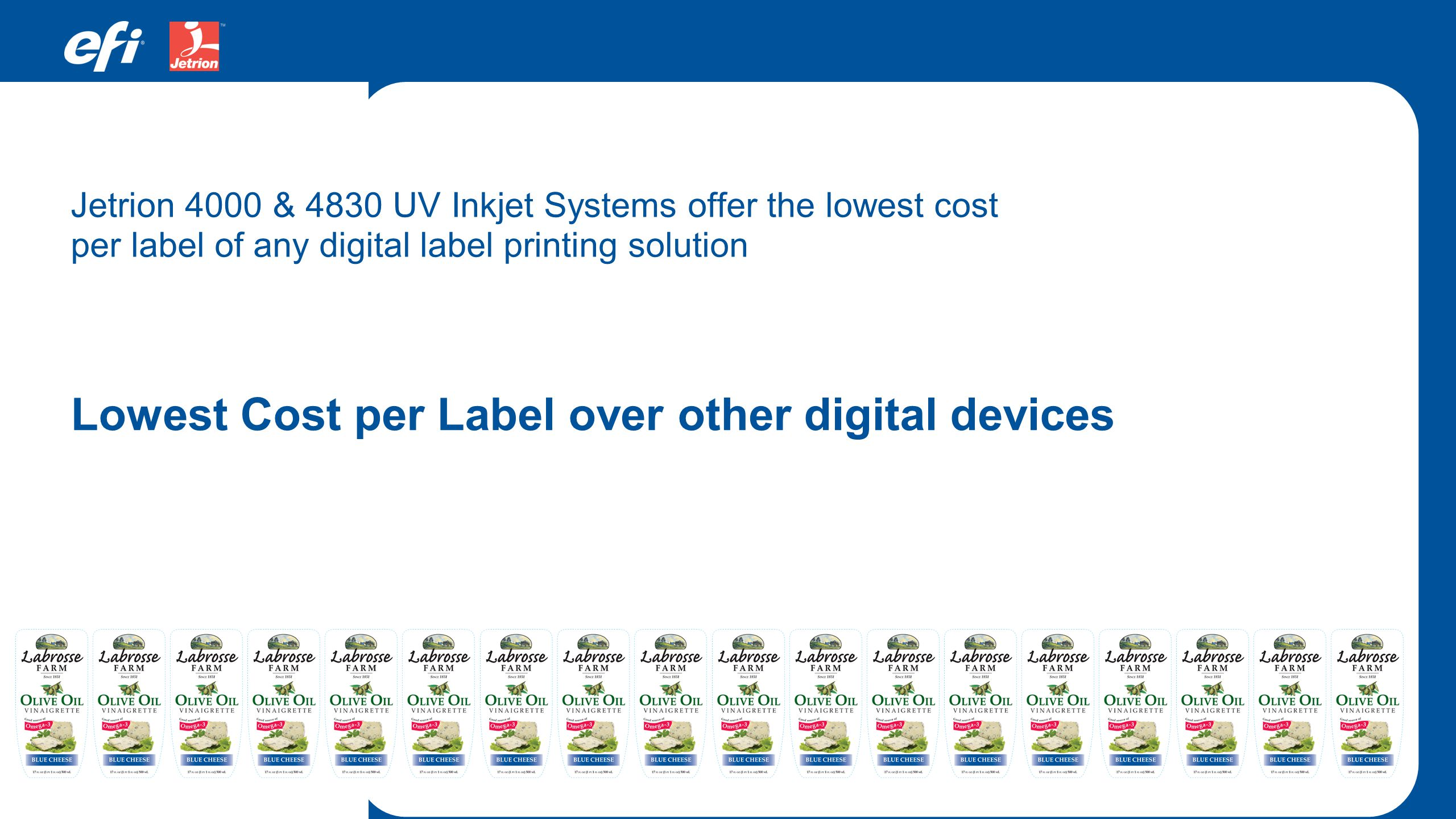 Lowest Cost per Label over other digital devices