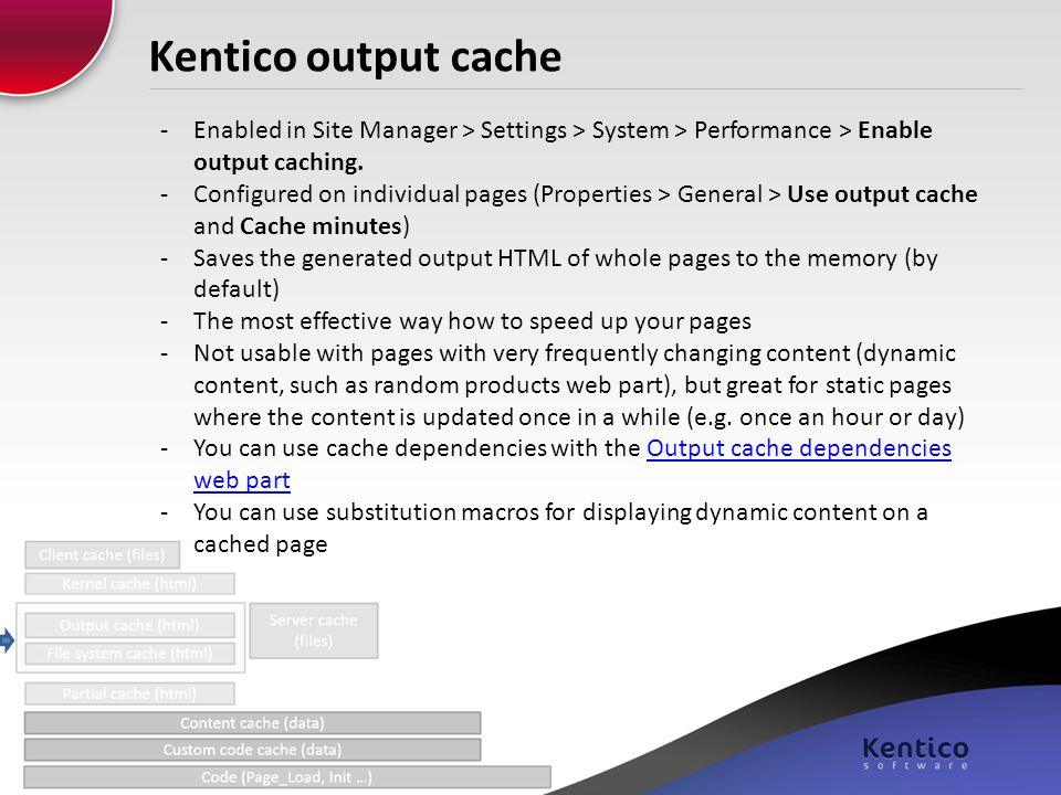 Kentico output cache Enabled in Site Manager > Settings > System > Performance > Enable output caching.