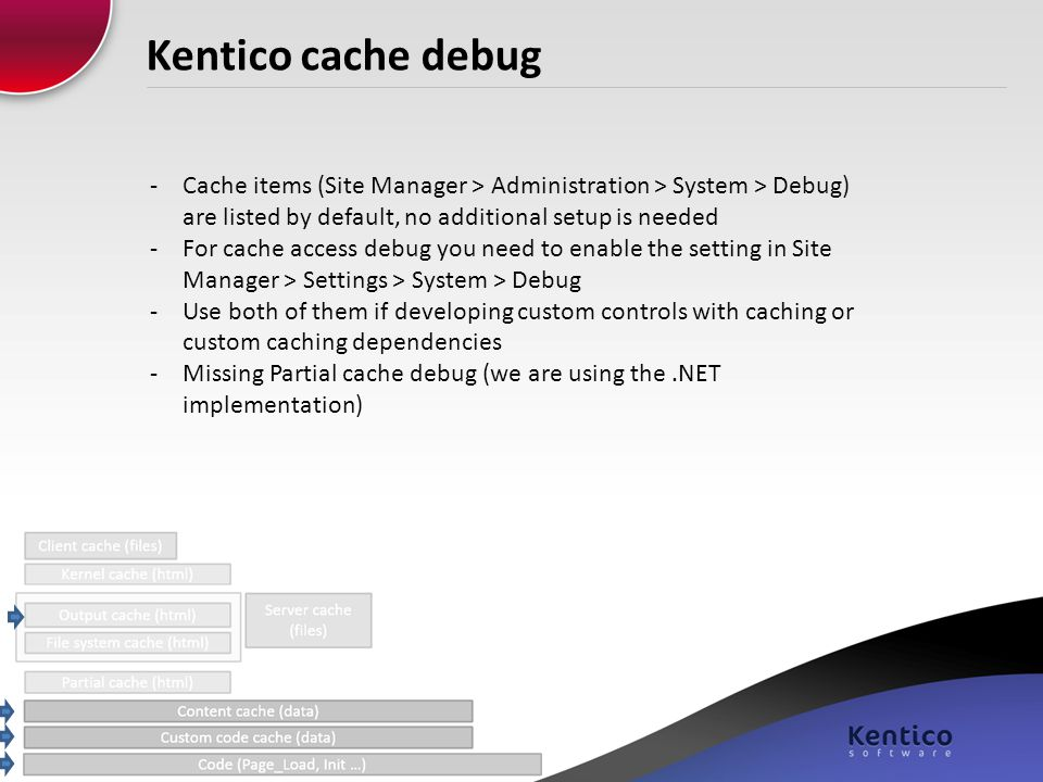 Kentico cache debug Cache items (Site Manager > Administration > System > Debug) are listed by default, no additional setup is needed.