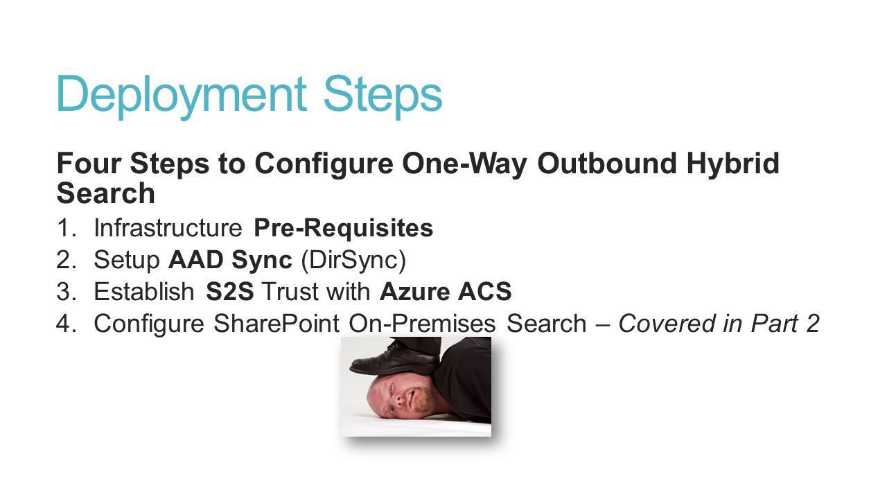 Deployment Steps Four Steps to Configure One-Way Outbound Hybrid Search. Infrastructure Pre-Requisites.