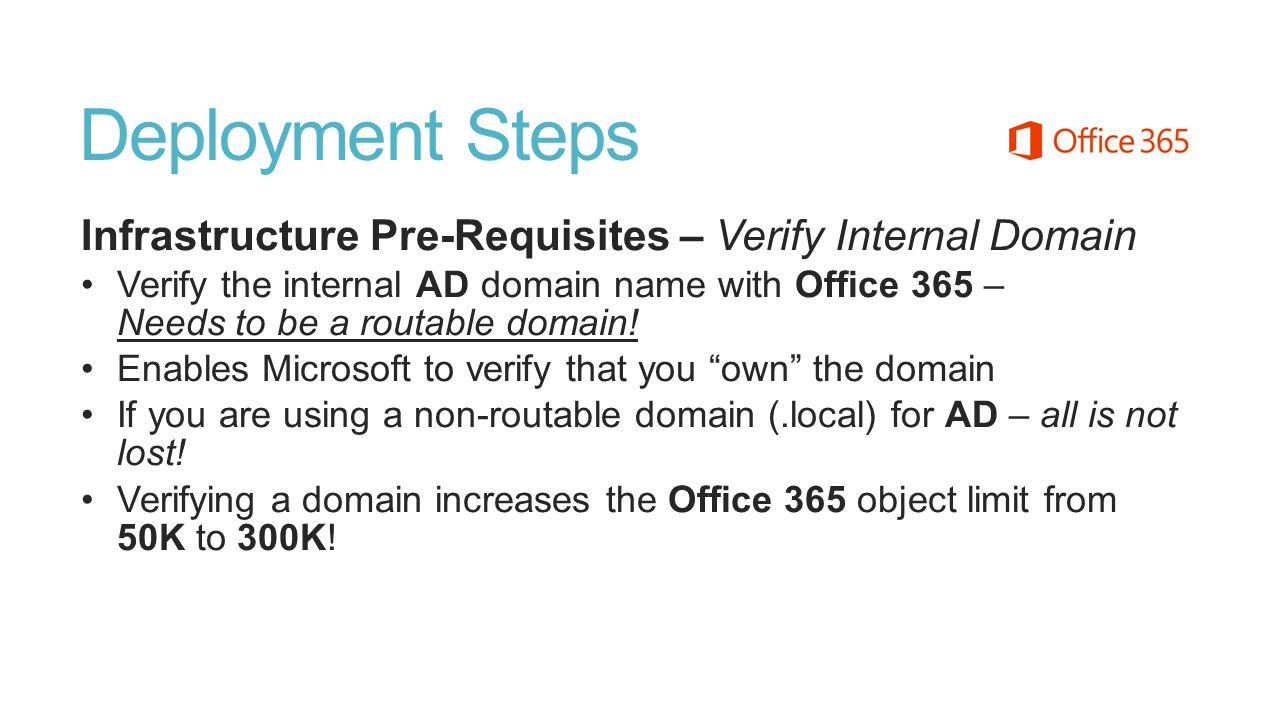 Deployment Steps Infrastructure Pre-Requisites – Verify Internal Domain.