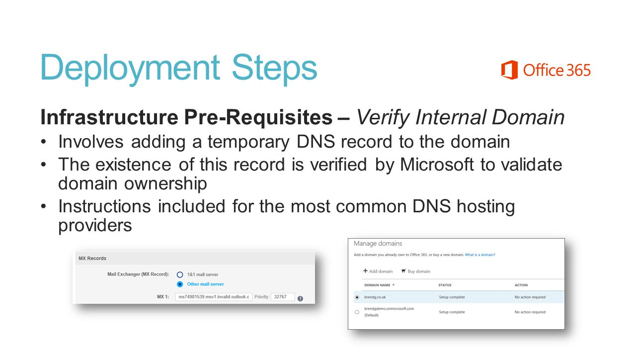 Deployment Steps Infrastructure Pre-Requisites – Verify Internal Domain. Involves adding a temporary DNS record to the domain.