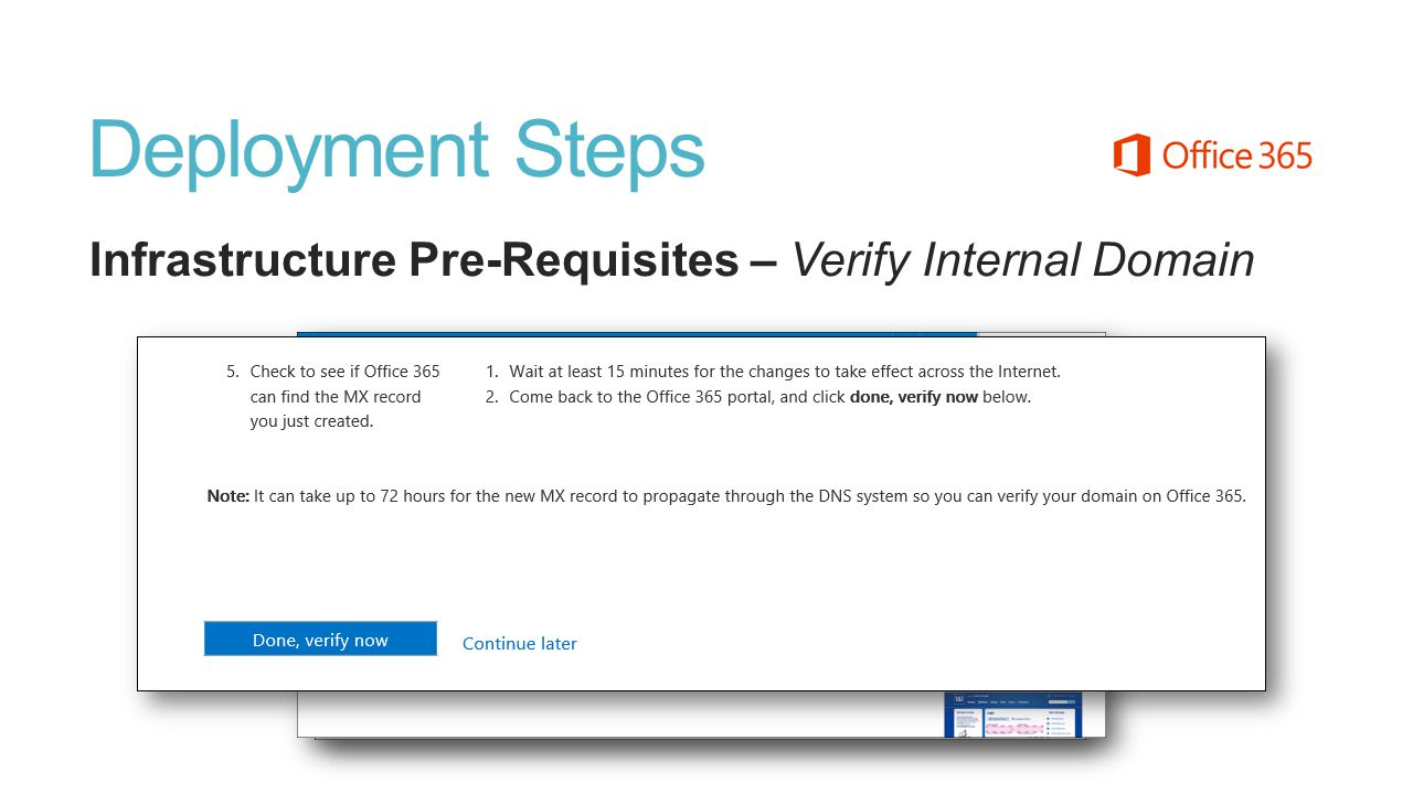 Deployment Steps Infrastructure Pre-Requisites – Verify Internal Domain