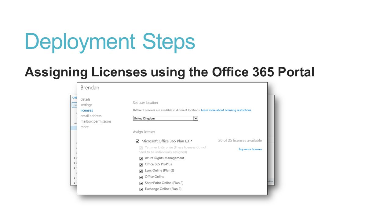 Deployment Steps Assigning Licenses using the Office 365 Portal