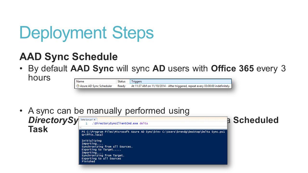 Deployment Steps AAD Sync Schedule