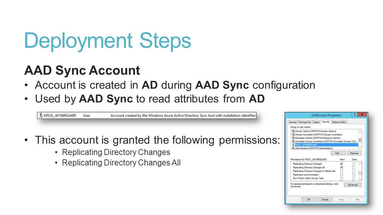 Deployment Steps AAD Sync Account
