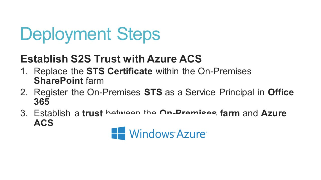 Deployment Steps Establish S2S Trust with Azure ACS
